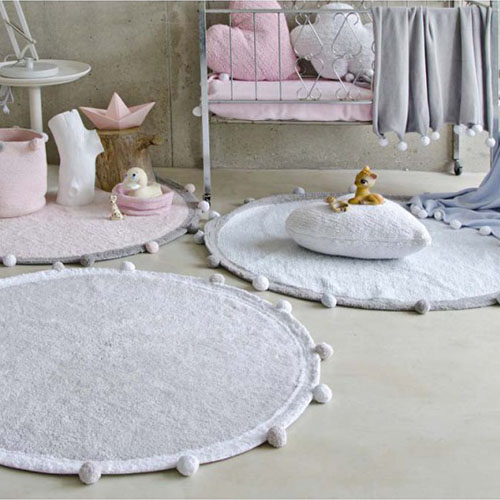 Alfombra y almohadas lavables a la lavadora Bubbly Lorena Canals