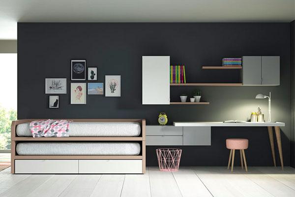 Lagrama habitació juvenil llit alt i llit a sota de colors moderns per a nois joves