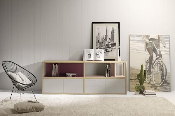 Mueble de comedor de madera maciza con opción a lacas de colores, fieltro e incluso mármol de la marca TREKU a Reus, Tarragona.