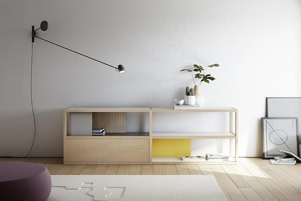 Aparador de madera maciza que juega con diferentes colores y materiales de la marca TREKU a Reus, Tarragona.