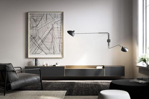 Mueble de comedor negro de estilo industrial sin patas de la marca TREKU a Reus, Tarragona.